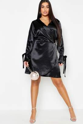 061c88d61d4 boohoo Plus Wrap Split Sleeve Satin Dress
