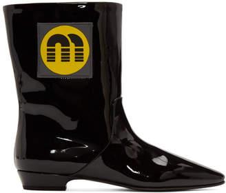 Miu Miu Black Patent Logo Boots