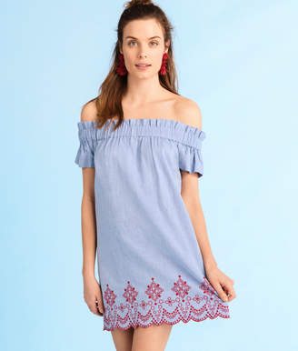Vineyard Vines Off The Shoulder Embroidered Oxford Dress