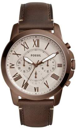Fossil Men's 'Grant' Quartz Stainless Steel and Leather Casual Watch