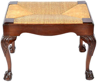 One Kings Lane Vintage Chippendale-Style Rush & Walnut Bench