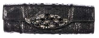 Carlos Falchi Crystal-Embellished Embossed Clutch
