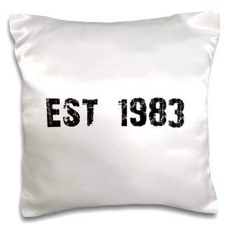 3dRose Grunge Est Established in 1983 - Eighties Baby Born Child of the 80s - Personal custom birth year - Pillow Case, 16 by 16-inch