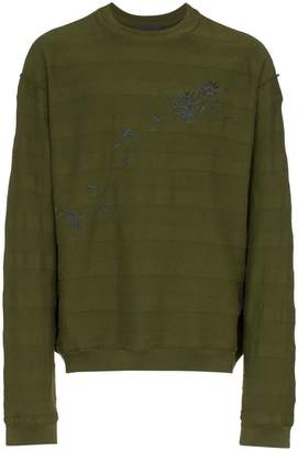 Haider Ackermann floral embroidered striped cotton sweatshirt