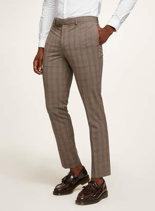 Brown Check Muscle Suit Trousers