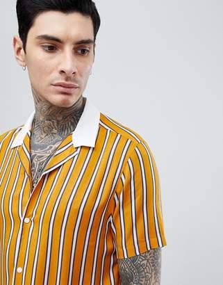 Asos Design Viscose Stripe Shirt With Contrast Collar