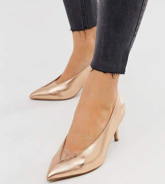 Asos Design DESIGN Wide Fit Winner mid heeled pumps in rose gold glitter