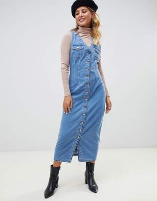 Asos Design DESIGN denim button through sleeveless midi dress