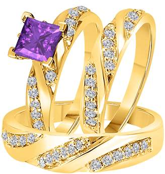 Express DreamJewels 2.00 Carat (Ctw) Synthetic Purple Amethyst Princess Cut & Round CZ Diamond 14k Yellow Gold Over Engagement His & Her Wedding Engagement Trio Ring Set In Shipping
