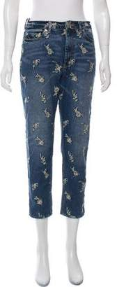 Rebecca Taylor High-Rise Straight-Leg Embroidered Jeans