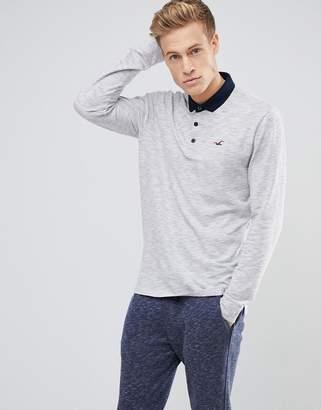 Hollister Long Sleeve Pique Polo Contrast Collar Seagull Logo in Gray