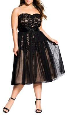 City Chic Plus Embroidered Tulle Fit-&-Flare Dress