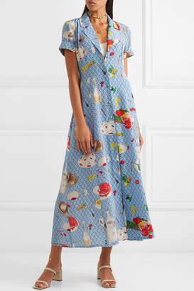 DAY Birger et Mikkelsen LHD - Marlin Printed Silk Crepe De Chine Midi Dress - Blue