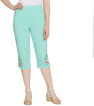 Factory Quacker Pull-on Floral Embroidered Knit Capri Pants