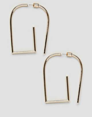 Asos Design DESIGN earrings in geometric front back design in gold
