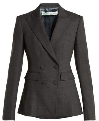 Off-white - Double Breasted Printed Wool Blend Blazer - Womens - Grey