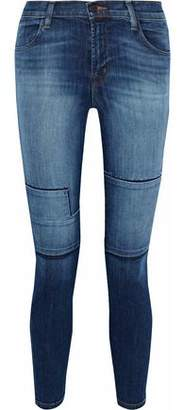 J Brand Alana Distressed Patchwork High-Rise Skinny Jeans