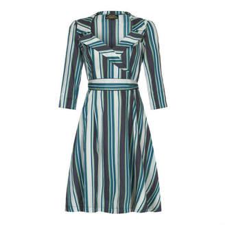 Amalfi by Rangoni Nancy Mac 1950s Style Full Skirted Dress In Stripe Silk Cotton