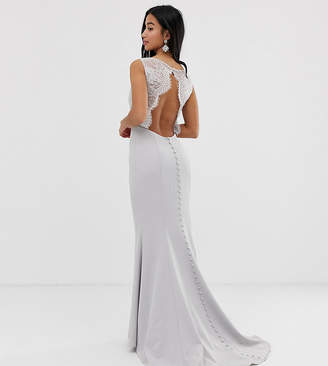 Jarlo Petite maxi dress with lace open back and train in silver grey