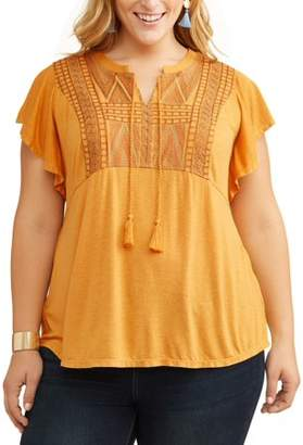 Terra & Sky Women's Plus Size Ruffle Sleeve Top