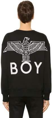 Boy London Embroidered Cotton Sweatshirt W/ Zip