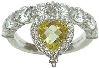 Judith Ripka Sterling Heart Dangle Diamonique Ring