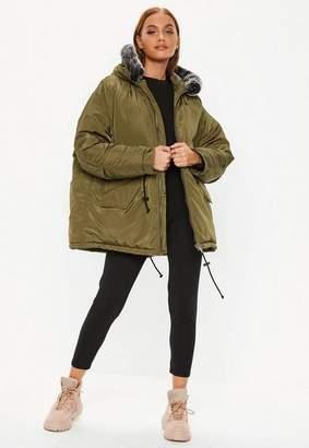 Missguided Khaki Contrast Faux Fur Trim Utility Parka Jacket