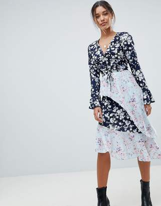 Missguided Mixed Floral Asymmetric Dress