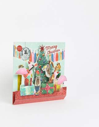 Paperchase musical flamingo Holidays card