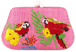 Rafe Rosie Small Straw Clutch Bag with Parrots