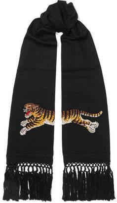 Gucci Crystal-embellished Wool And Cashmere-blend Scarf - Black