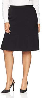 Nine West Women's Size Plus BI Stretch Skirt with Single Ruffle