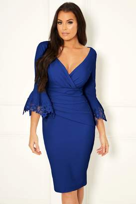 Next Womens Sistaglam Loves Jessica Midi Bodycon Trim Sleeve Dress