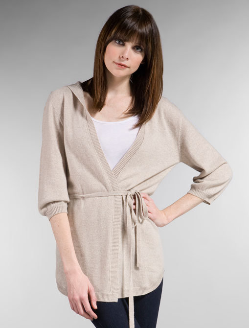 LA Made Cashmere Hooded Belted Cardigan