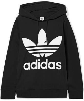 adidas Trefoil Printed Cotton-jersey Hoodie - Black