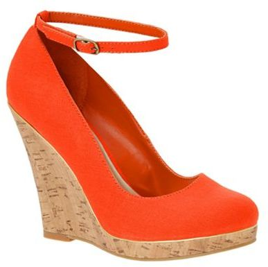 Orange cork-look wedge heeled shoes