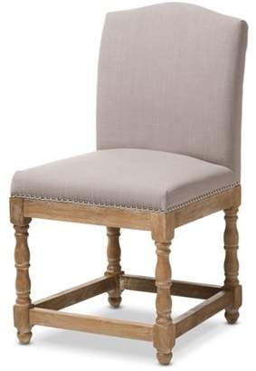 Baxton Studio Paige French Vintage Cottage Weathered Oak and Beige Upholstery Dining Side Chair