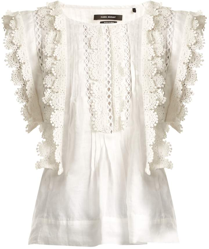 ISABEL MARANT Nandy sleeveless lace-trimmed embroidered lawn top