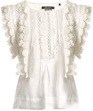ISABEL MARANT Nandy sleeveless lace-trimmed embroidered lawn top $615 thestylecure.com