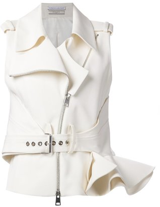 Le Bon Marche X The Webster Bouchra Jarrar ruffle sleeveless biker jacket $3,115 thestylecure.com