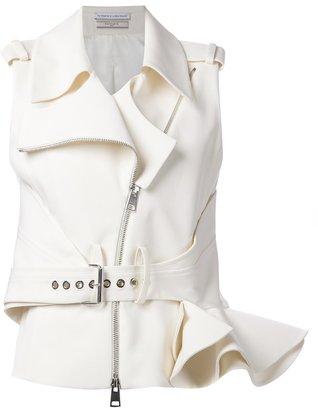 Le Bon Marche X The Webster Bouchra Jarrar ruffle sleeveless biker jacket $3,115 thestylecure.com