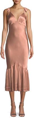 Saylor Caitlin Sleeveless Bias-Cut Satin Midi Dress