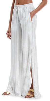 Onia Chloe Wide-Leg Side-Slit Striped Coverup Pants