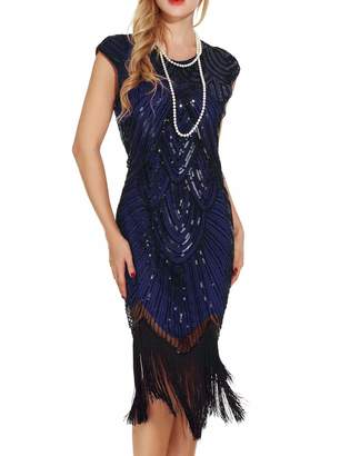 At Canada Uniq Sense Womenu0027s 1920s Fler Dresses Sequined Beaded Fringed Emblished Great Gatsby Sc 1 St Style