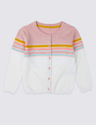 Marks and Spencer Pure Cotton Striped Cardigan (3 Months - 7 Years)