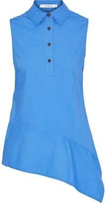 Derek Lam 10 Crosby Asymmetric Gathered Cotton-Poplin Shirt