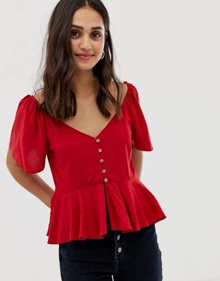 Asos Design DESIGN tea blouse with button front
