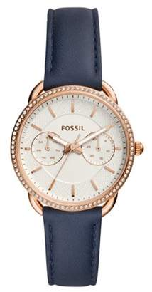 Fossil Tailor Multifunction Navy Leather Watch Jewelry