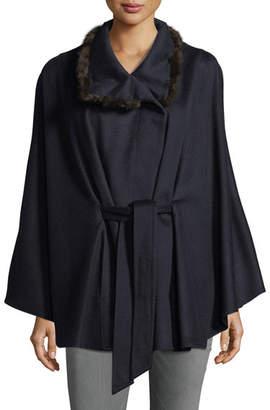 Sofia Cashmere Cashmere Cape w/ Cross Cut Mink Fur Collar