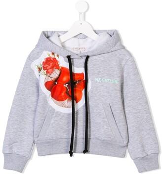 Natasha Zinko Kids flower patch drawstring hoodie